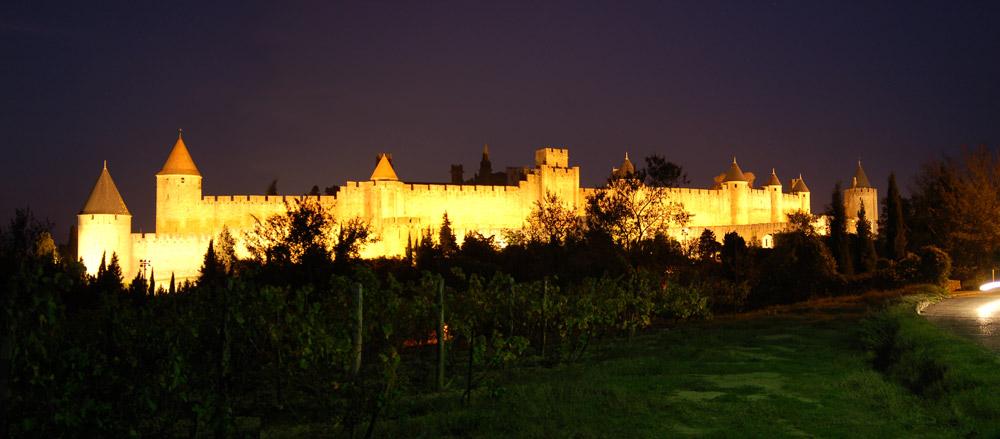Panorámica de Carcassonne de Noche
