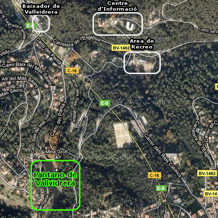 Mapa Pantano de Vallvidrera
