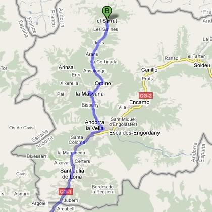 Mapa del Hotel El Serrat - Ordino, Andorra