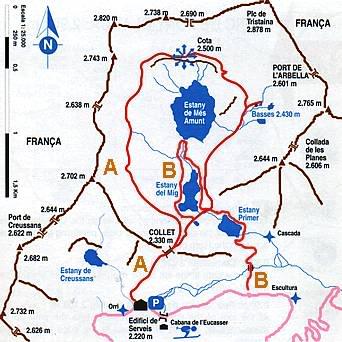 Mapa lagos de Tristaina - Ordino, Andorra